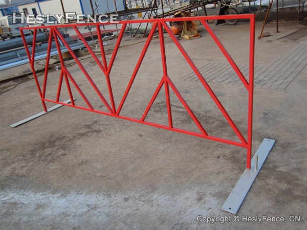 Red color powder coated crowd barriers